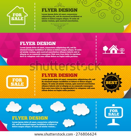 Flyer brochure designs. For sale icons. Real estate selling signs. Home house symbol. Frame design templates. Vector - stock vector