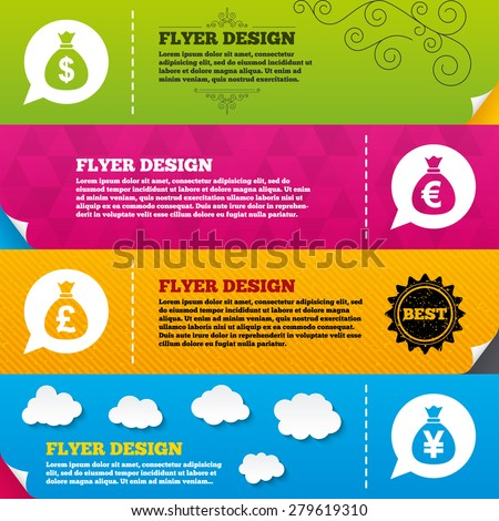 Flyer brochure designs. Money bag icons. Dollar, Euro, Pound and Yen speech bubbles symbols. USD, EUR, GBP and JPY currency signs. Frame design templates. Vector - stock vector