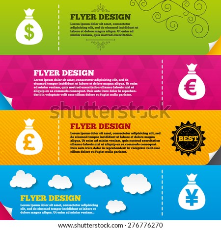 Flyer brochure designs. Money bag icons. Dollar, Euro, Pound and Yen symbols. USD, EUR, GBP and JPY currency signs. Frame design templates. Vector - stock vector