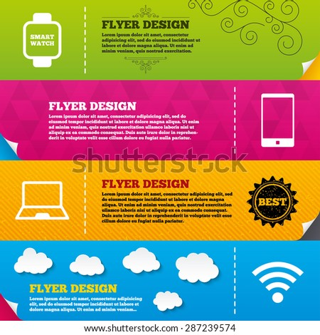 Flyer brochure designs. Notebook and smartphone icons. Smart watch symbol. Wi-fi sign. Wireless Network symbol. Mobile devices. Frame design templates. Vector - stock vector