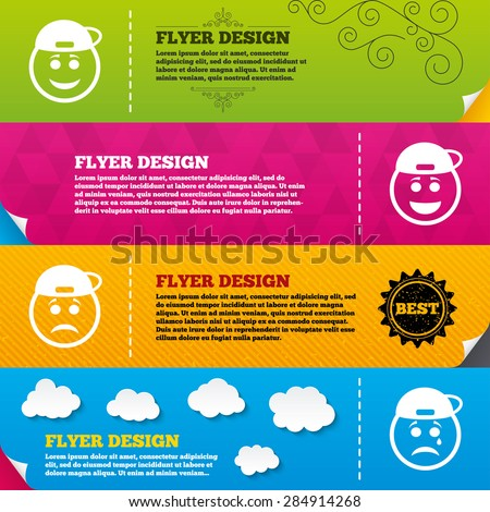 Flyer brochure designs. Rapper smile face icons. Happy, sad, cry signs. Happy smiley chat symbol. Sadness depression and crying signs. Frame design templates. Vector - stock vector