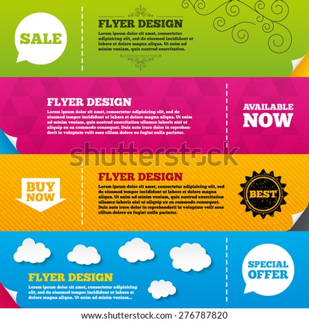 Flyer brochure designs. Sale icons. Special offer speech bubbles symbols. Buy now arrow shopping signs. Available now. Frame design templates. Vector - stock vector