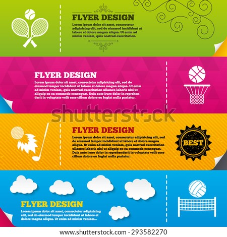 Flyer brochure designs. Tennis rackets with ball. Basketball basket. Volleyball net with ball. Golf fireball sign. Sport icons. Frame design templates. Vector - stock vector