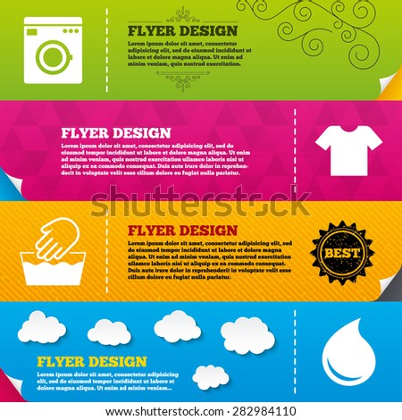 Flyer brochure designs. Wash machine icon. Hand wash. T-shirt clothes symbol. Laundry washhouse and water drop signs. Not machine washable. Frame design templates. Vector - stock vector