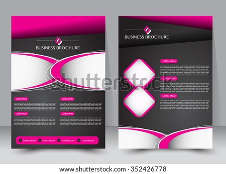 Flyer, brochure, magazine cover template design for education, presentation, website. Black and pink color. Editable vector illustration - stock vector