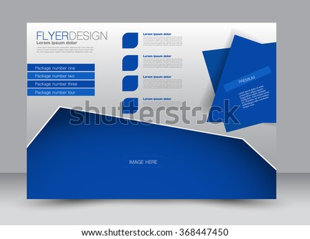 Flyer, brochure, magazine cover template design landscape orientation for education, presentation, website. Blue color. Editable vector illustration. - stock vector