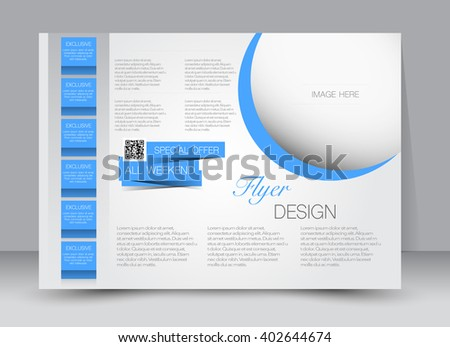 Flyer, brochure, magazine cover template design landscape orientation for education, presentation, website. Blue color. Editable vector illustration.