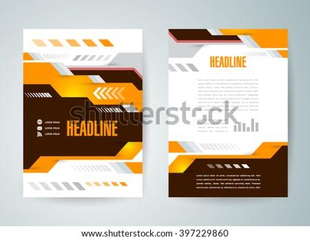 flyer design, brochure design template abstract technological - stock vector
