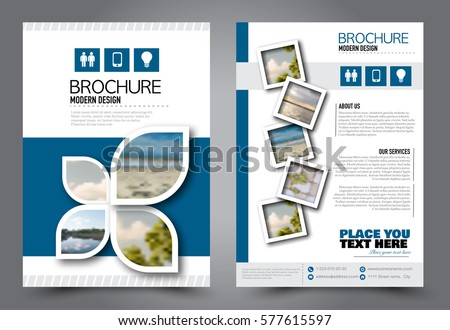 Flyer design. Business brochure template. Annual report cover. Booklet for education, advertisement, presentation, magazine page. a4 size vector illustration. Blue color.