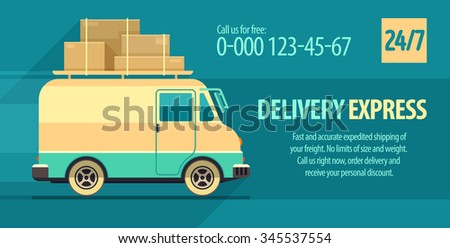 Flyer design for freight delivery transport with minibus. vector illustration. Transparent objects used for lights and shadows drawing. - stock vector