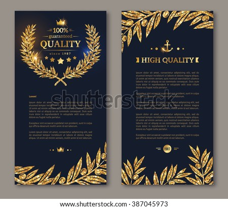 Flyer design layout template. Vector illustration. Business brochure design with golden laurel wreath and gold confetti on dark background. Glittering premium vip design. Golden Olive branches Decor - stock vector