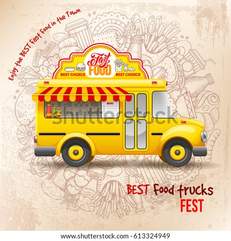 Flyer Design Template For Food Truck Cute Vintage On Background With Doodle