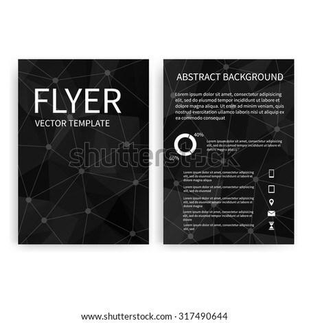 Flyer design templates. Set of black A4 brochure design templates with geometric abstract modern backgrounds. Infographic concept, mobile technologies, applications and online services - stock vector