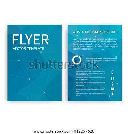 Flyer design templates. Set of blue A4 brochure design templates with geometric abstract modern backgrounds. Infographic concept, mobile technologies, applications and online services
