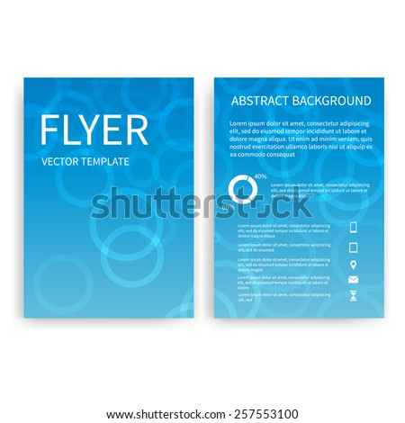 Flyer design templates. Set of blue A4 brochure design templates with geometric circle abstract modern backgrounds. Infographic concept, mobile technologies, applications and online services