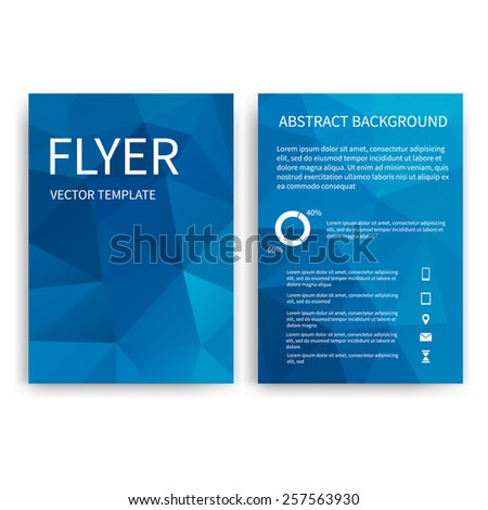 Flyer design templates. Set of blue A4 brochure design templates with geometric triangular modern backgrounds. Infographic concept, mobile technologies, applications and online services