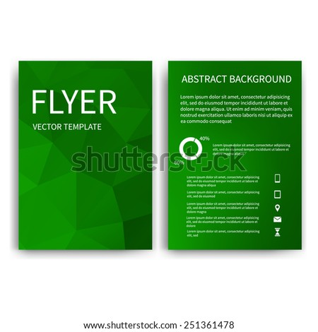 Flyer design templates. Set of green A4 brochure design templates with geometric triangular abstract modern backgrounds. Infographic concept, mobile technologies, applications and online services - stock vector