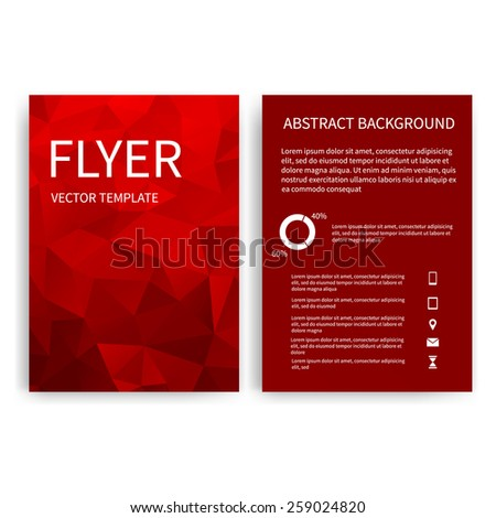 Flyer design templates. Set of red A4 brochure design templates with abstract  modern backgrounds. Infographic concept, mobile technologies, applications and online services. Vector design EPS10 - stock vector