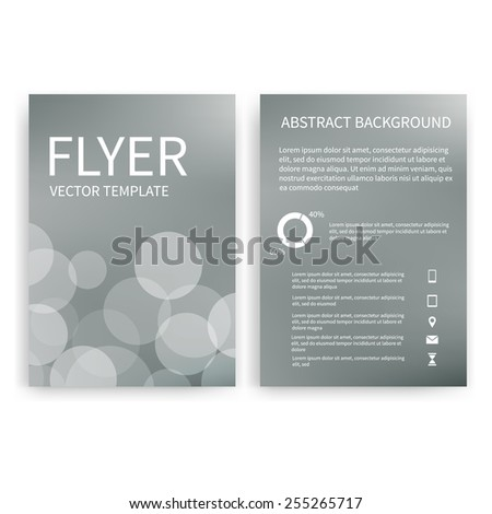 Flyer design templates. Set of silver A4 brochure design templates with geometric bokeh lights abstract modern backgrounds. Infographic concept, mobile technologies, applications and online services