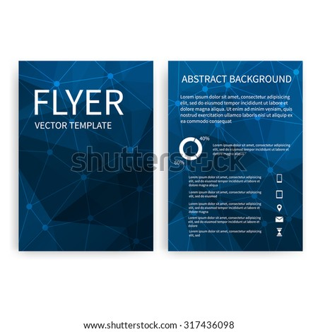 Flyer design templates. Vector EPS10. Set of blue A4 brochure design templates with geometric abstract modern backgrounds. Infographic concept, mobile technologies, applications and online services