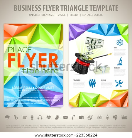 Flyer Design with Magician Hat, Triangle Pattern, Icons and Options. Vector Template. - stock vector