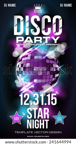 Flyer disco, music party background in vector format - stock vector