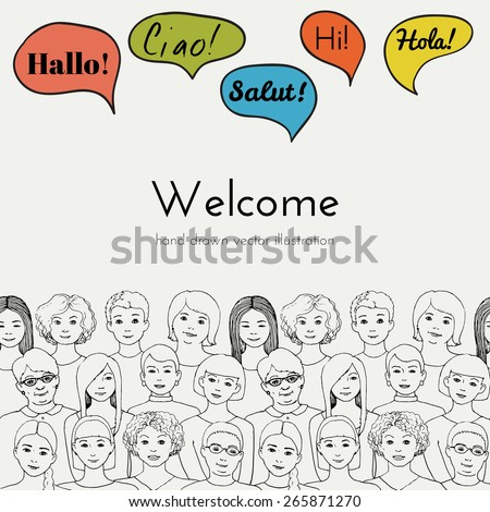 Flyer illustration of a group of women all ages with speech clouds of different foreign languages. hand drawn vector illustration - stock vector