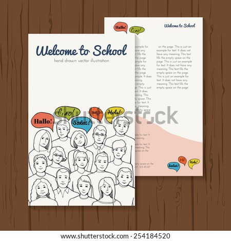 flyer illustration with group of yong people with speech clouds. hand drawn vector illustration - stock vector