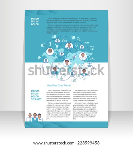 Flyer, leaflet, booklet layout. Editable design template - stock vector