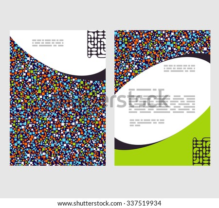 Flyer, leaflet, booklet layout. Editable design template. A4 2-fold brochure with abstract elements, infographics - stock vector
