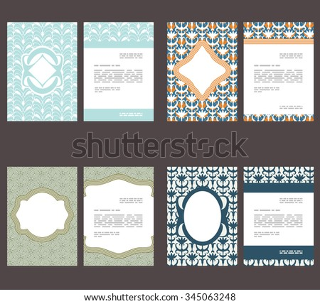 Flyer, leaflet, booklet layout. Editable design template. Set of A4 brochures with abstract patterns - stock vector