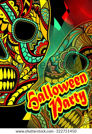 Flyer on Halloween party with Decorate Skull painted ornament in red orange green yellow - stock vector