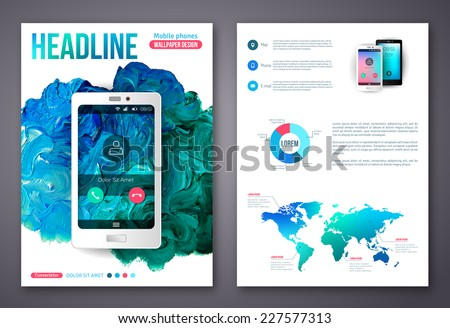 Flyer Brochure Business Design Template Painted Stock Vector