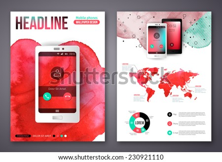 Flyer or Brochure Design Templates with Watercolor Paint Splash. Abstract Watercolor Background for Business Flyers and Posters. Mobile Technologies Concept. Flat Style Web and Infographic Icons. - stock vector