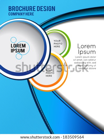 Flyer or brochure template, abstract colorful design - stock vector