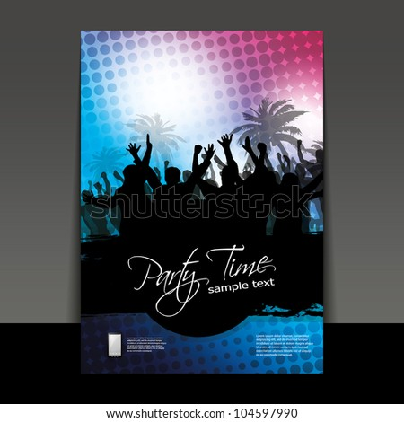 Flyer or Cover Design - Party Time - stock vector