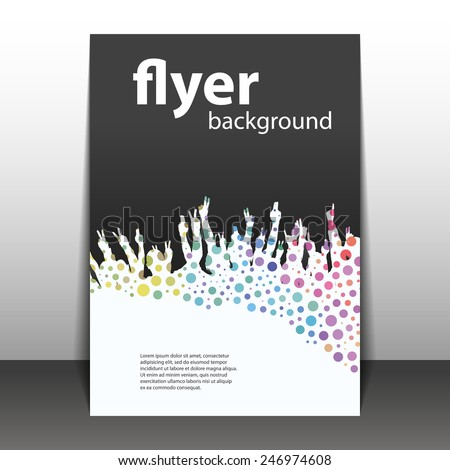 Flyer or Cover Design - Party Time - Dotted Background with Hands - stock vector