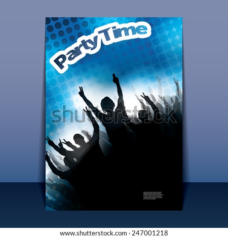 Flyer or Cover Design - Party Time - Party Time - Party Flyer with Doted Background - stock vector