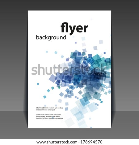 Flyer or Cover Design with Blue Abstract Pattern - stock vector