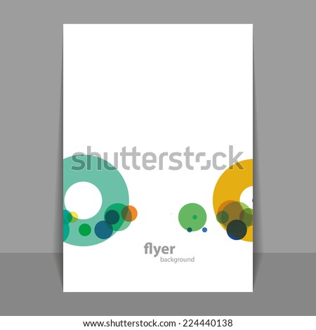 Flyer or Cover Design with Colorful Dots, Rings, Bubbles - stock vector