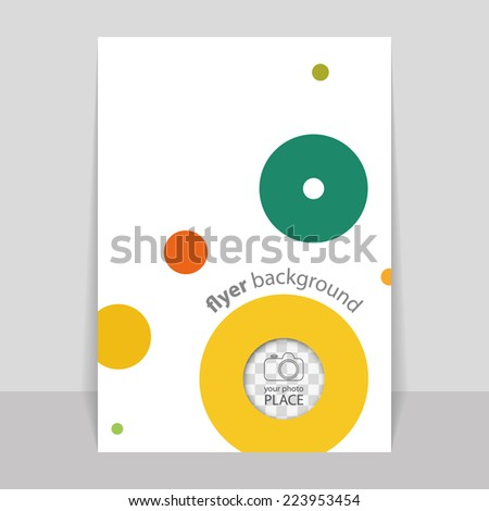 Flyer or Cover Design with Colorful Dots, Rings, Bubbles - Space for Your Photo - stock vector