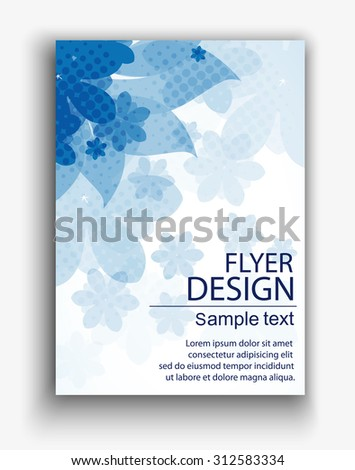 Flyer or Cover Design with flowers - stock vector
