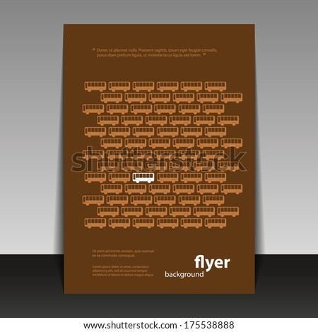 Flyer or Cover Design with Retro Bus Pattern - stock vector