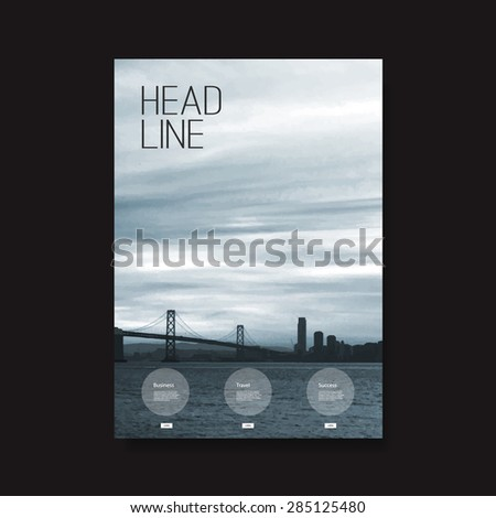 Flyer or Cover Design with San Francisco Bay View - stock vector