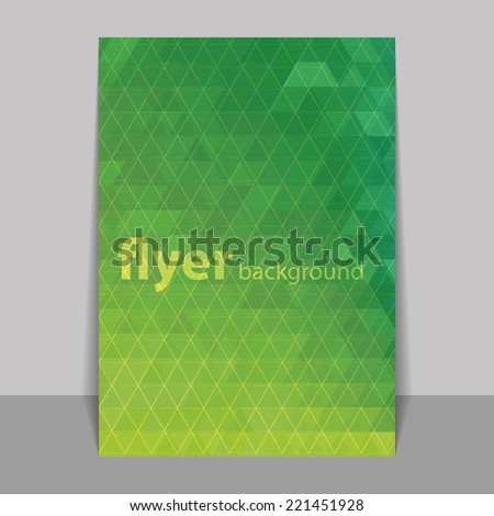 Flyer or Cover Design with Triangle Mosaic Pattern - Green and Yellow - stock vector