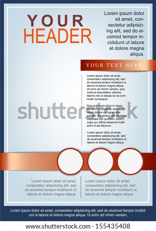 Flyer or cover template blue and red - stock vector