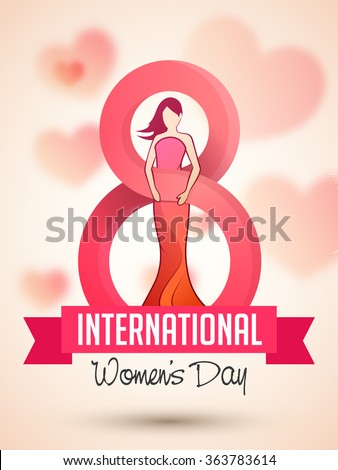 Flyer or Pamphlet with stylish text 8 March and illustration of young girl for Happy International Women's Day celebration. - stock vector