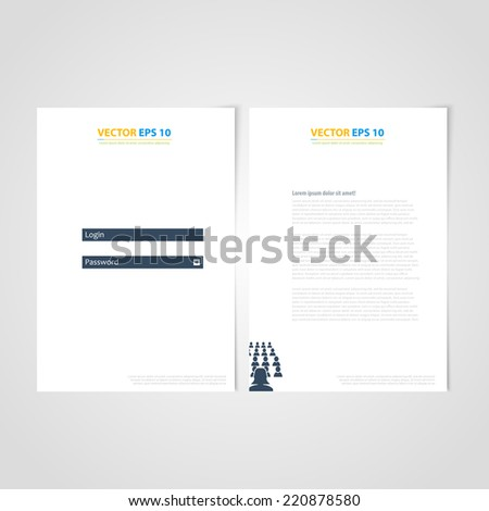 Flyer template back and front design. Brochure design templates collection with login  icons