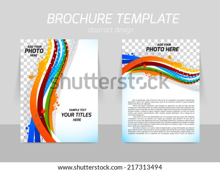 Flyer template back and front design with colorful lines - stock vector