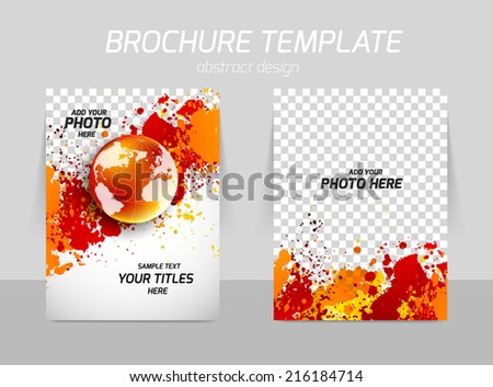 Flyer template back and front design with grunge texture and globe - stock vector